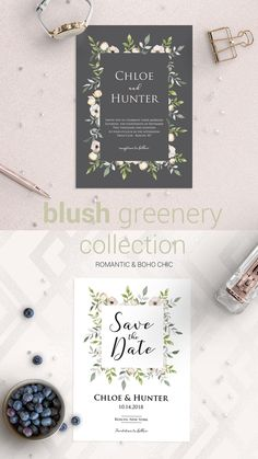 What a lovely wedding invitations! The Blush Greenery wedding stationery collection is a soft botanical collection, perfect for an outdoor wedding. The pastel flowers and greenery give the stationery a romantic and boho touch. Customizing the templates is an easy and fun DIY project that anyone can do. Browse more stunning wedding stationery at www.papersizzle.com. Sign up for our newsletter and get 15% off + a free printable thank you card.
