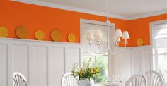 Home decorating orange and white dining room- Inspiration Orange Dining Room, Orange Rooms, Orange Kitchen, Dining Room Colors, Orange Walls, White Walls, Wainscoting Styles, Painted Wainscoting, Wainscoting Hallway