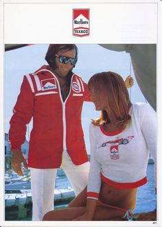 Emerson Fittipaldi doing some PR work for Marlboro, 1974 style F1 Racing, Road Racing, Formula 1, Grand Prix, Monaco, Jochen Rindt, Racing Events, F1 Drivers, Grid Girls