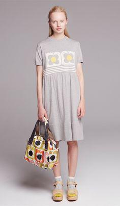 Orla Kiely Love Bird Intarsia Gathered T-Shirt Dress in grey marl worn with Love Birds Multi Print Zip Handbag