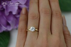 1 carat 14k Yellow Gold Ring 6 Prong Solitaire by TigerGemstones