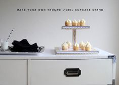 Trompe L'oeil Cupcake Stand DIY with Free Printable