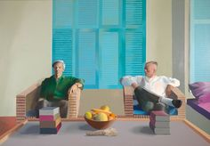 David Hockney Christopher Isherwood and Don Bachardy (exhibition print) David Hockney Portraits, David Hockney Art, David Hockney Paintings, Edward Hopper, Christopher Isherwood, Art Alevel, Most Popular Artists, Pop Art Movement, Tate Britain