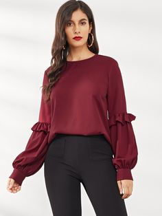 Women Classy Plain Top Regular Fit Round Neck Long Sleeve Bishop Sleeve Pullovers Red Regular Length Ruffle Trim Lantern Sleeve Top