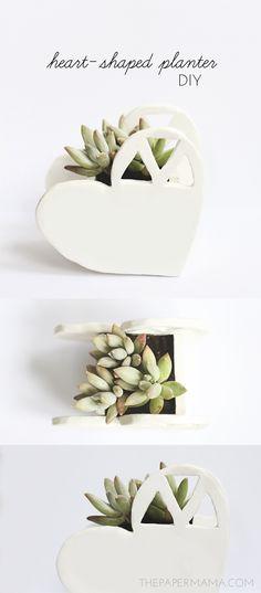 Heart-Shaped Planter DIY. #diy #heart #planter