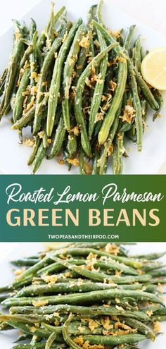 Make Roasted Lemon Parmesan Green Beans in less than 20 minutes This easy St Patrick s Day recipe features crisp fresh roasted green beans with a hint of lemon and a salty Parmesan crust A simple vegetable side dish perfect for your St Patrick s Day menu Parmesan Green Beans, Lemon Green Beans, Roasted Green Beans, Roasted Green Vegetables, Italian Vegetables, Beans Vegetable, Vegetable Sides, Vegetable Side Dishes, Vegetable Recipes