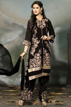 Black semi stitched georgette trouser style salwar suit