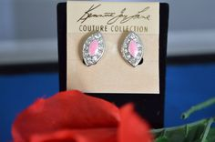 KENNETH JAY LANE Couture Collection Rare Pink  Enamel and Crystal Earrings , Signed,  ships in 24 Hrs
