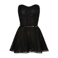 Strapless Skater Dress found on Polyvore featuring dresses, strapless skater dress, skater dress and strapless dress