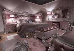Carving Silver Italian Style Bedroom - Top and Best Classic Furniture in Qatar and Classical interior Design Italian Companies