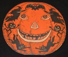 Early 1930's Vintage Beistle Halloween Pumpkin Jack O Lantern Paper Decoration | eBay