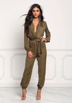 707ea59db41 Olive Plunge Faux Wrap Cinched Jumpsuit - New