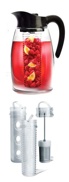 Pitcher with infuser for tea, infuser for fruits, and ice pack to chill drinks.