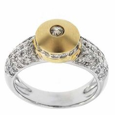 0.70 Cttw Round Cut Diamonds Two Tone Cocktail Ring in 14K Gold by GetDiamondsDirect on Etsy