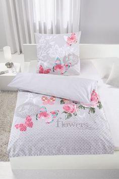 Bettwäsche aus 100% Baumwolle-Renforcé in der Farbe Grau/Rosa/Weiß-Vintage. B/L: ca. 135/200cm und 80/80cm.