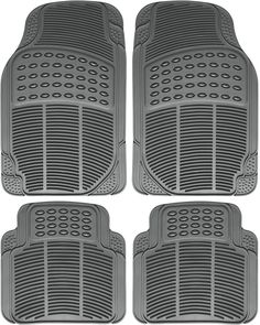 Heavy Duty All Weather Universal Fit Rubber Black Floor Mats for Cars, Trucks, SUVs, and Vans (Set of Rubber Floor Mats, Rubber Mat, Rubber Flooring, Interior Accessories, Car Accessories, Best Car Floor Mats, Buick Enclave, Suv Trucks, Black Floor