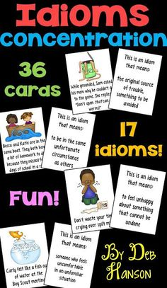 Idioms Concentration-featuring 17 common idioms!