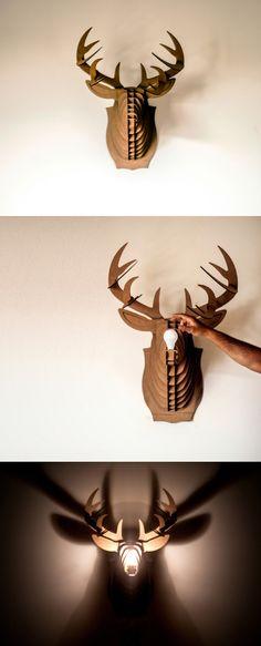 Cardboard Trophy Deer Head for Illuminating Device – Philou Le Caribou
