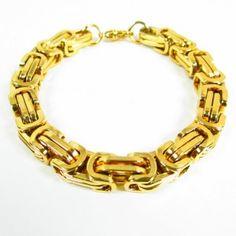 Fiche produit de la gourmette en acier dorée Collier D'ambre, Turquoise, Bracelets, Gold, Jewelry, Fashion, Mineral Stone, Coin Purses, Jewelry Ideas