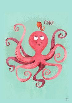 Octopus Decor, Octopus Wall Art, Octopus Print, Squid Drawing, Octopus Illustration, Octopus Squid, Floating Boat, Octopuses, Tiny Prints