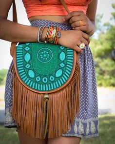 Boho Purse, Bracelets, Orange Top, Patterned Skirt