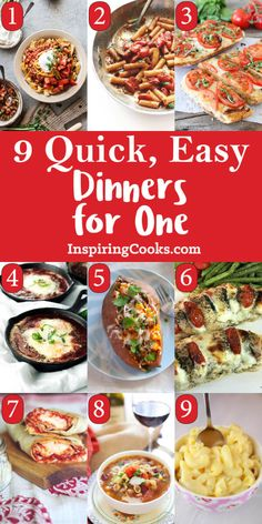 "Do you have a ""Dinner Party of One!"" for dinner every night? My list of 9 quick & easy single dinner recipes for one person will help you tremendously."