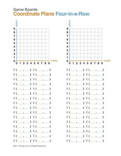 Learn about coordinate planes, x-axis, y-axis, and ordered pairs with this simple math game. Free download of directions and game boards.
