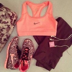 """cute clothes for working out! nike runners nike sports bra leggings &mp3 player"""
