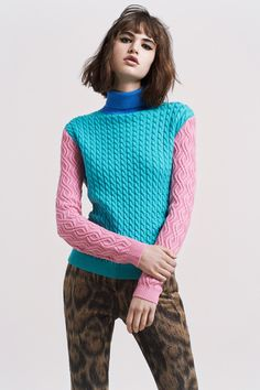 Markus Lupfer Fall 2014 RTW via Style.com | cobalt, turquoise and pink color blocked turtleneck sweater