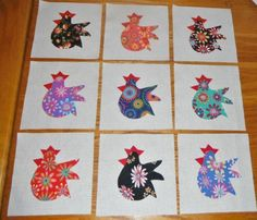 """$9.95        Set of 9 Bright Funky Flower Chicken  6"""" x 6""""  Applique Quilt  Blocks"""