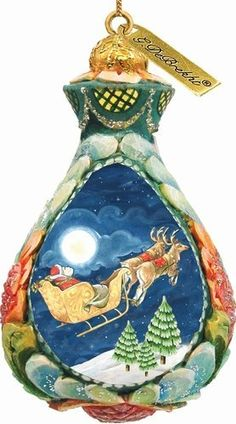 G. Debrekht Santa on Sleigh Ornament