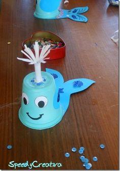 Titina's Art Room: 9 easy fun paper cup crafts! K Cup Crafts, Paper Cup Crafts, Sea Crafts, Fish Crafts, Paper Cups, Paper Plates, Paper Craft, Babysitting Activities, Craft Activities
