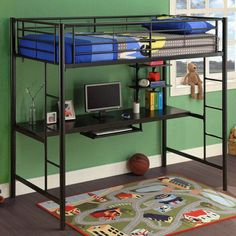 The bunk bed desk combo is perfect when studying and sleeping are done in the same room. Loft bunk beds with desk work for kids and college students alike. Bunk Beds Boys, Bunk Bed Plans, Kid Beds, Modern Bunk Beds, Metal Bunk Beds, Bed With Desk Underneath, Loft Beds For Teens, Bunk Bed With Desk, Desk Bed