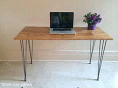 36x20 Small Hairpin Desk, Wood Hairpin Desk, Hairpin Table, Rustic Desk, Vanity Table, Mock Reclaimed Wood Desk, Desk. *Stock size shown