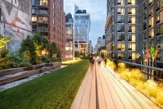 """SIGHT LINES In a section of the High Line near 23rd Street, five apartment buildings, three of them newly built steel-and-glass towers, overlook the park and create a sleek update on """"Rear Window."""" The domestic lives of the residents are notably exposed."""