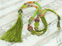 Charm- & Bettelketten - Lange Kette - AprilGarten - ACHAT - GLAS - SAMEN - - ein Designerstück von Kunterbuntes-Perlenspiel bei DaWanda
