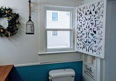 Diy Interior Shutters, Wood Cornice, Diy Privacy Fence, Decorative Screen Panels, Bathroom Windows, Bathroom Closet, Bathroom Window Privacy, Window Benches, Diy Dining Table