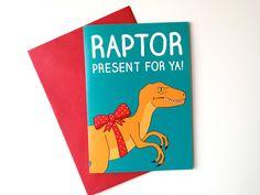 Dinosaur Birthday Card Raptor Birthday card, funny Jurassic Park card by helloDODOshop via Etsy