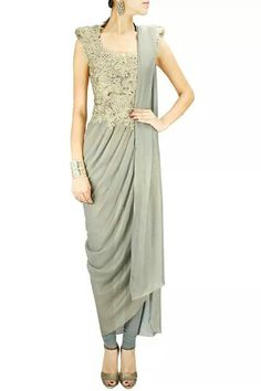 By Gaurav Gupta Lace appliqué kurta sari - Love this! Change the colour