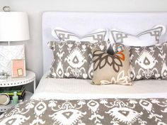 Back pillows with my patterned headboard