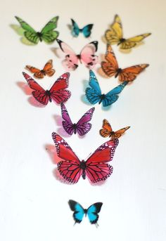 12 3D Rainbow Butterfly wall Art made with plastic by LeeShay, $20.00