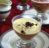 Table set with Chocolate Mousse with Creme Anglais and chocolate shavings. Yum!