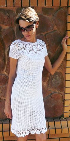 MADE TO ORDER Crochet dress/ stylish crochet dress/Hand knit dress/Crochet pattern/ Lace crochet dress/Crochet women dress/Handmade lace cotton dress /Crochet lace dress Lace crochet elegant dress for stylish women You can orders this wonderful crochet model any color and any size