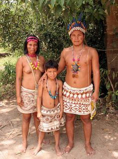 Bora indian family at their village near Iquitos, Peru.
