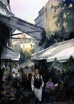 French Cafe  by Vladislav Yeliseyev    #watercolor  #Paris #France    http://yeliseyevstudio.com/school/more/fine-art-sarasota/watercolor-gallery/