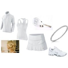 A fashion look from August 2011 featuring NIKE, athletic sportswear and moisture wicking shirts. Browse and shop related looks. Tennis Dress, Tennis Clothes, Tennis Whites, Wimbledon, Nice Dresses, Athlete, Sportswear, Fashion Looks, Chanel