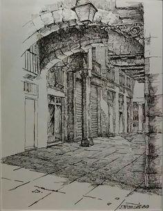 Pen & ink drawing, by joaquim francés pencil sketch drawing, ink pen drawings, Pencil Sketch Drawing, Ink Pen Drawings, Ink Pen Art, Pen Sketch, Art And Illustration, Art Drawings Beautiful, Landscape Drawings, Urban Sketching, Art Sketches