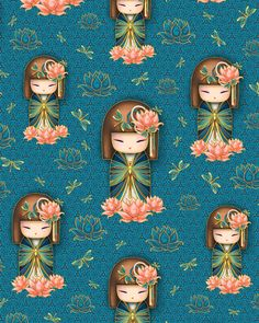 Yuna Kimmidoll - Lotus Girls - -Quilt Fabrics from www.eQuilter.com