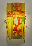 fused glass Sconce; warm tones and (etched?) gingko leaves