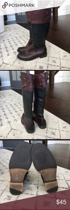 Vince Camuto knee high boots These are beautiful and in great condition! These are 8.5 and too small (I'm in between 8.5 and 9). These would fit an 8 or true 8.5 size perfectly. The two tone color lends many options for wearing year round. Happy shopping! Vince Camuto Shoes